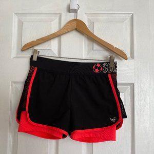 Justice Active Black & Orange Soccer Shorts